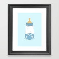 Baby bottle with diaper Framed Art Print