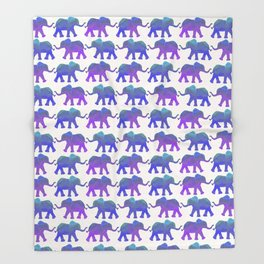Follow The Leader - Painted Elephants in Royal Blue, Purple, & Mint Throw Blanket