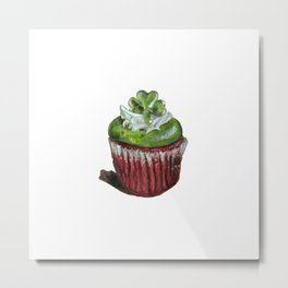 St. Patrick's Day Cupcake with Shamrock Metal Print