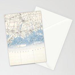 Vintage Hempstead Long Beach Long Island New York Map Stationery Cards