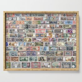 Vintage banknotes from all over the world collage Serving Tray