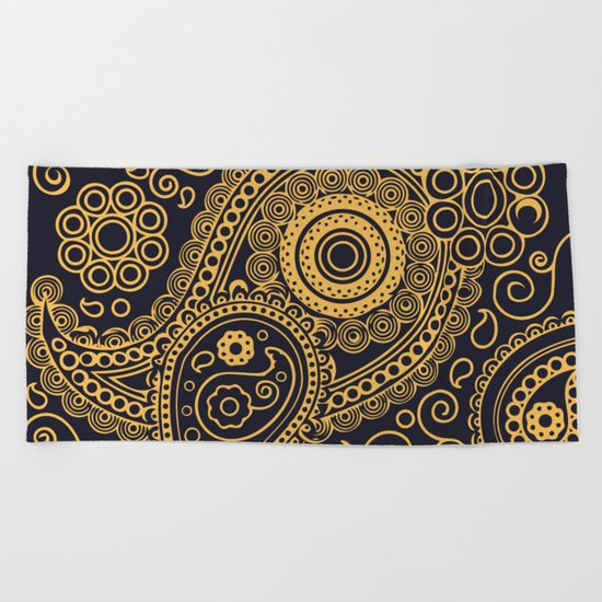 Vintage Pattern Gold Beach Towel