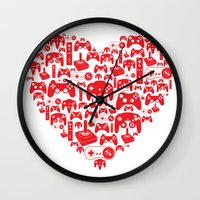 gaming Wall Clocks featuring Gaming Love by Tombst0ne