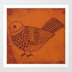Retro Pigeon Art Print