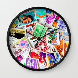 Vintage Postage Stamps Wall Clock