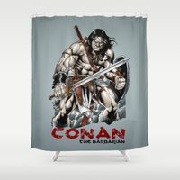 conan Shower Curtains featuring Conan by CromMorc