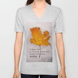 Autumn. Fallen leaf on dirty ice. Unisex V-Neck