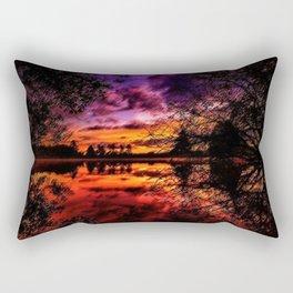 Sunrise on the Scituate Reservoir Landscape Painting by Jeanpaul Ferro Rectangular Pillow