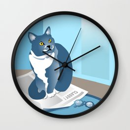 Jackson Cat Reads The News Wall Clock