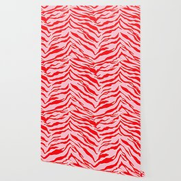 Tiger Print - Red and Pink Wallpaper
