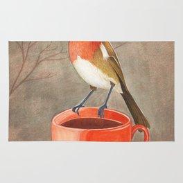 coffee loving robin bird Rug