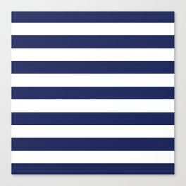 Navy Blue and White Stripes Canvas Print