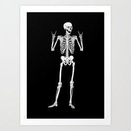 Metal and Rock and Roll Skeleton Art Print