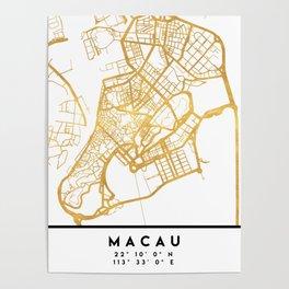 MACAU CHINA CITY STREET MAP ART Poster