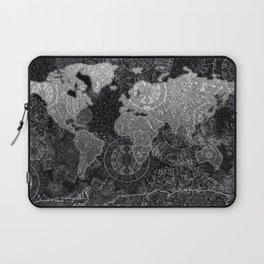 world map mandala black and white 3 Laptop Sleeve