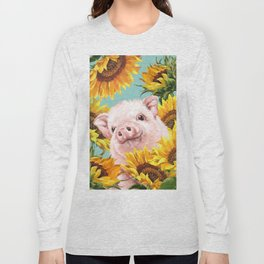 Baby Pig with Sunflowers in Blue Long Sleeve T-shirt