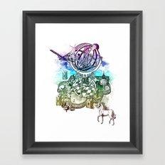 strange unicorn garden Framed Art Print