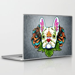 French Bulldog in White - Day of the Dead Sugar Skull Dog Laptop & iPad Skin