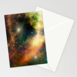 Teal orange gold universe galaxy nebula Stationery Cards