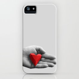 hand with red heart iPhone Case