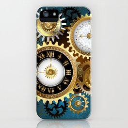 Two Steampunk Clocks with Gears iPhone Case