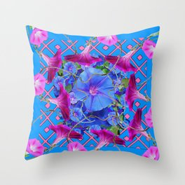 Purple & Pink Morning Glories Blue Pattern Art Throw Pillow