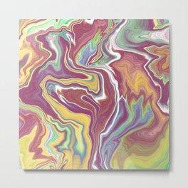 Marbling Pastelic Colors Abstract Art Digitalart Painting Nr.2 Gift Metal Print