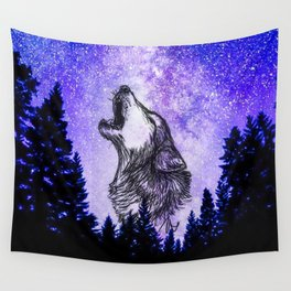 galaxy wolf drawing Wall Tapestry