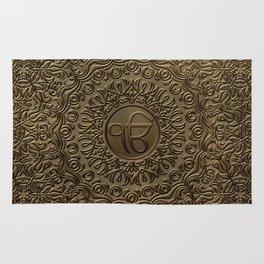 Decorative Ek Onkar / Ik Onkar  embossed on gold Rug