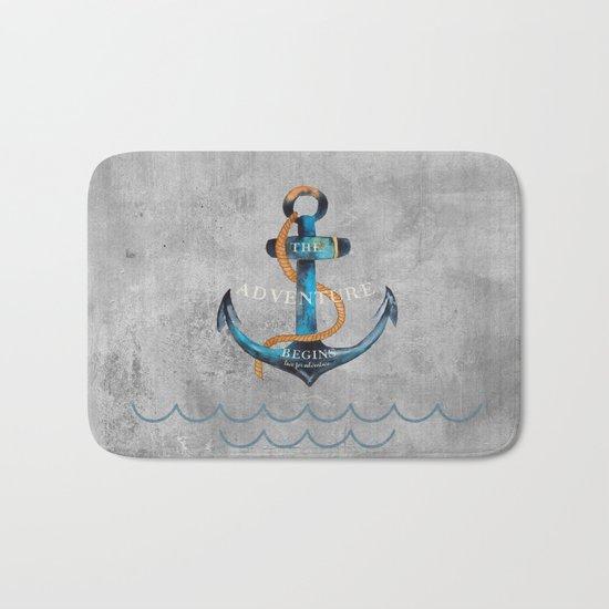 Maritime Design- Nautic Anchor Navy Marine Beach Bath Mat