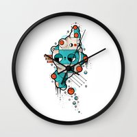 muscle Wall Clocks featuring Muscle cat by Randyotter