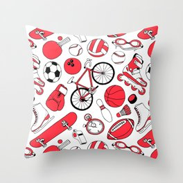 I Love Sports (red pattern) Throw Pillow