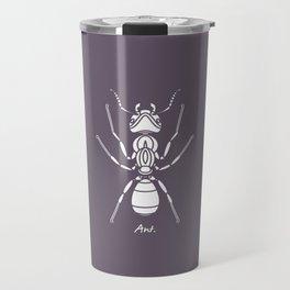 Ant white on Purple Background Travel Mug