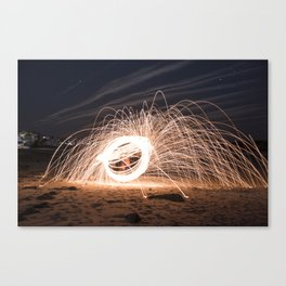 Woolspinning at the Beach Canvas Print