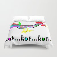 cock Duvet Covers featuring Crazy Cock by totemxtotem