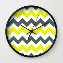 Chevron Pattern In Limelight Yellow Grey and White Wall Clock