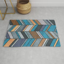 Colorful Concrete Chevron Pattern - Blue, Grey, Brown Rug