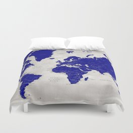 """Navy blue and grey detailed world map, """"Delaney"""" Duvet Cover"""