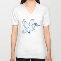hippie V-neck T-shirts featuring Hippie Dove by laurxy