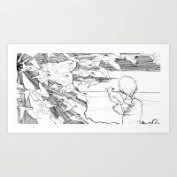 boy and his crow Art Print