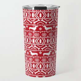 Dachshund doxie fair isle christmas sweater festive red and white holiday dog lover gifts Travel Mug