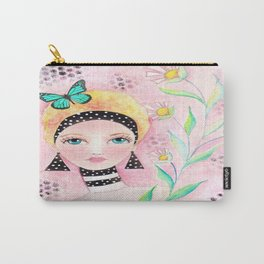 Whimiscal Girl with White Dots and Flowers  Carry-All Pouch