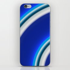 Blue and white curved Line abstract iPhone & iPod Skin