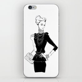Fashion Girl in Black with Pearls iPhone Skin