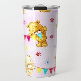 yellow and pink little teddies Travel Mug
