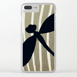 Vintage Zebra Stripe Dragonfly Silhouette Clear iPhone Case