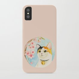 """""""Hanami"""" - Calico Cat and Cherry Blossom iPhone Case"""