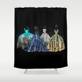 Evening Gowns Collection Fashion Illustration Shower Curtain