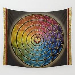 Earth Rainbow Mandala - Acrylic with Swarovski crystals w/ gold leaf Wall Tapestry