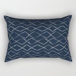 Dark Navy Blue Bohemian Tribal Mud Cloth Chevron Horizontal Stripe Diamond Pattern Rectangular Pillow